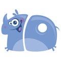 Number 10 funny cartoon happy smiling rhino running Royalty Free Stock Photo
