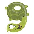 Number funny cartoon smiling turtle green Stock Photo