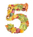 Number made of autumn colored leaves isolated on white background Stock Image