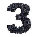 Number 3 made of keyboard buttons Royalty Free Stock Photo