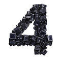 Number 4 made of keyboard buttons Royalty Free Stock Photo