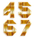 Number metal gold ribbon - 4,5,6,7 Stock Images