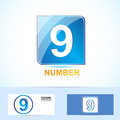 Number nine logo vector company icon element template of blue square concept Stock Image