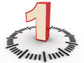 Number one all time concept with numeral in a clock dial against a clean background Royalty Free Stock Images
