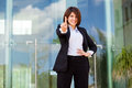 We are number one beautiful hispanic businesswoman pointing out that her company is with her finger Stock Photography