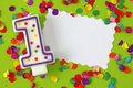 Number one birthday candle Royalty Free Stock Images