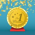 Number one gold trophy award . Winner sign. Vector illustration. Royalty Free Stock Photo