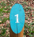 Number one grunge view of the painted on the cuted wooden pillar Royalty Free Stock Photo