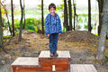 Number one kid standing proud on podium Royalty Free Stock Images