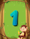 Number one with only one monkey in the tree Royalty Free Stock Photo