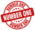 Number one red grunge round vintage stamp Royalty Free Stock Photo