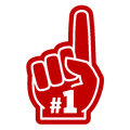 Number 1 one sports fan foam hand with raising forefinger vector icon Royalty Free Stock Photo