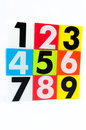 Number one to nine arrange in stack show different of each Royalty Free Stock Photos