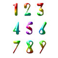 Number one to nine made from rainbow color Royalty Free Stock Photography