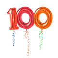 Number red balloons with ribbon Royalty Free Stock Photos