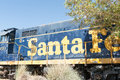 Number santa fe train parked up in barstow california no longer used the old at amtrack rail station which houses western american Stock Photo