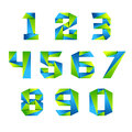 Number set icon design template elements 3d logo. green and blue