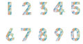 Number set of with polygonal pattern Royalty Free Stock Images