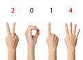 The number shown by fingers in creative new year greeting card Royalty Free Stock Photos
