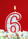 Number six birthday candle Royalty Free Stock Photo