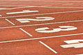 Number start running track rubber standard red color Stock Images