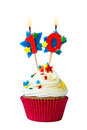 Number ten cupcake with candles Stock Photo