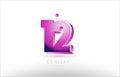 number 12 twelve black white pink logo icon design