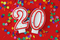 Number twenty birthday candle Stock Images