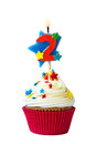 Number two cupcake with candle Stock Image