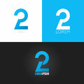 Number two 2 logo design icon set background Royalty Free Stock Photo