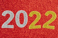 Number two thousand and twenty one over a red background. Anniversary. Royalty Free Stock Photo