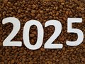 number 2025 in white with roasted coffee beans background