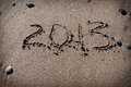 Numbers 2013 on beach sand for calendar Royalty Free Stock Images