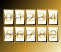Numbers on airport terminal timetable display font set gold illustration Royalty Free Stock Images