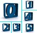 Numbers in blue boxes  Royalty Free Stock Image