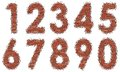 Numbers of bricks set vector brick digit abstract Stock Images