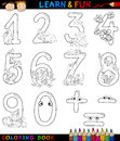 Numbers with cartoon animals for coloring Stock Images