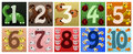 Numbers with cute animals a vector illustration of a set of Stock Photos