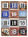 Numbers eighteen collage of house Stock Photography