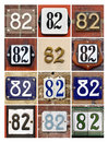 Numbers eighty two collage of house Stock Photos
