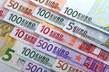 Numbers on the euro banknotes close up Stock Photography