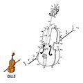 Numbers game for children: musical instruments (cello) Royalty Free Stock Photo