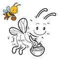 Numbers game, dot to dot game about bees Royalty Free Stock Photo