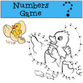 Numbers game withy contour. Little cute duckling. Royalty Free Stock Photo