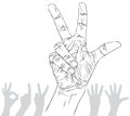 Numbers hand signs set number three detailed black and white l lines vector illustration drawn Stock Photos