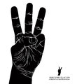 Numbers hand signs set number three detailed black and white v vector illustration Royalty Free Stock Images