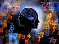 Numbers of human mind composition feature lines and symbolic elements on the subject consciousness imagination science and Stock Photography