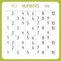 Numbers for kids. Worksheet for kindergarten and preschool. Training to write and count numbers. Exercises for children