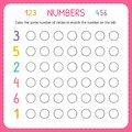 Numbers for kids. Worksheet for kindergarten and preschool. Training to write and count numbers. Coloring exercises for children