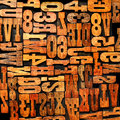 Numbers letters letterpress background Royalty Free Stock Photo